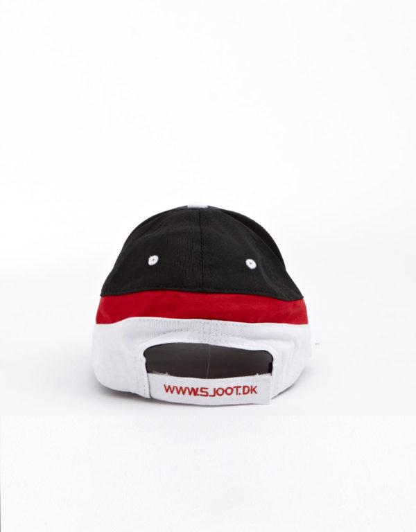 sjoot kasket bagfra sort, hvid og rød